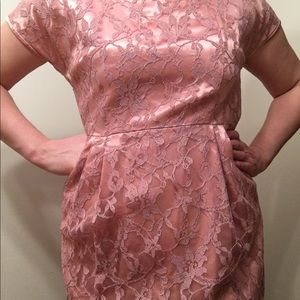 Dusty rose lace and satin 1950s party dress